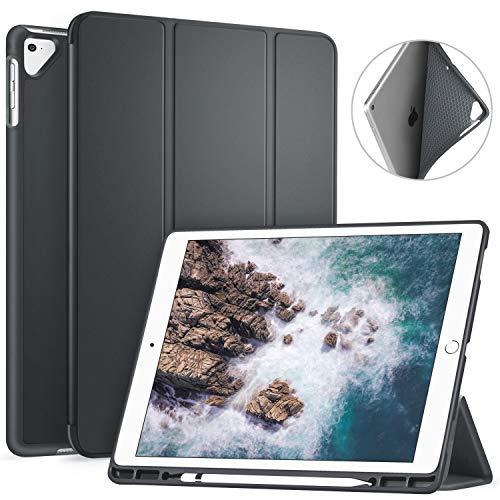 ZtotopCaseHülle für iPad Pro 12,9 2017/2015 mit Stifthalter,für Modell A1670/A1671/A1584/A1652,Schlank leichte TPU Rückseite Abdeckung und Klappständer,mit Auto Schlaf/Aufwach Funktion,Dunkelgrau