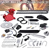 Ziloco Full Set 80cc Bicycle Engine kit, 2 Stroke Motorized Bike Petrol Gas Engine Kit, Turn Your Pedal Bike Into an Electric Bike (Red)