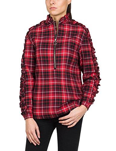 REPLAY Karo Hemd Blusa, Rojo (Red/White/Black Check 10), S para Mujer