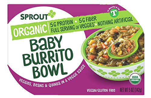 Sprout Organic Baby Food, Toddler Meals, Veggie Burrito Bowl with Beans & Quinoa, 5 Oz Bowl (1 Count)