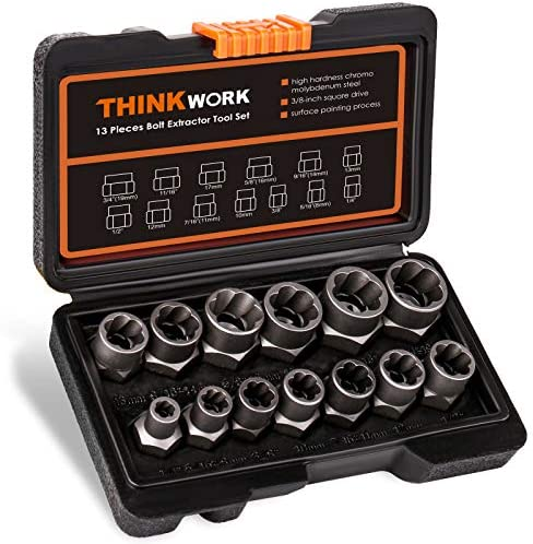 THINKWORK Impact Bolt Nut Remover Set 13 1 Pieces Bolt Extractor Tool Set Stripped Lug Nut Remover product image