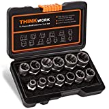 THINKWORK Impact Bolt & Nut Remover Set, 13+1 Pieces Bolt Extractor...