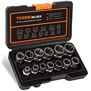 THINKWORK Impact Bolt & Nut Remover Set 13+1 Pieces Bolt Extractor Tool Set Stripped Lug Nut Remover Extraction Socket Set for Removing Damaged Frozen Rusted Rounded-Off Bolts Nuts & Screws