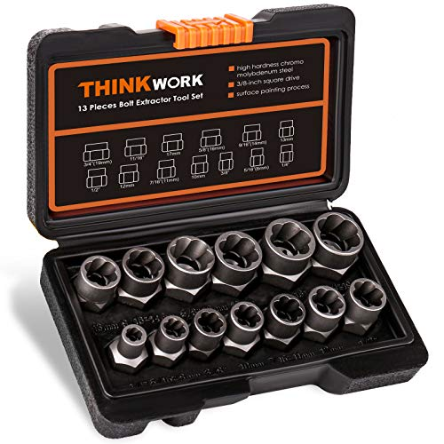 THINKWORK Impact Bolt & Nut Remover Set, 13+1 Pieces Bolt Extractor Tool Set, Stripped Lug Nut Remover, Extraction Socket Set for Removing Damaged, Frozen, Rusted, Rounded-Off Bolts, Nuts & Screws