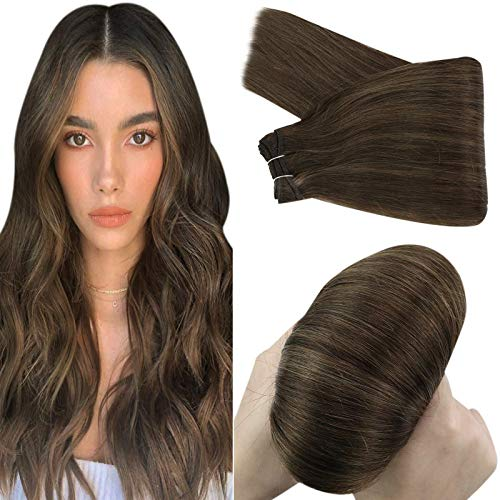YoungSee 18inch Weft Hair Extensions Human Hair Dark Brown Highlight with Light Brown Hair Extensions Sew in Human Hair Stratght Soft Weft Hair Extensions Real Hair 100grams