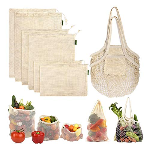 Reusable Produce Bags Grocery Bag Foldable Washable Reusable Mesh Shopping Bags Eco-Friendly Organic Cotton with Drawstring Lock for Vegetable Fruit Groceries, Tare Weight on Color Tag(8 Pack)
