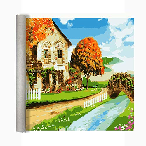 Color Angel Rolled Canvas Paint by Number DIY Oil Acrylic Paint by Numbers for Kids Ages 8-12 Sized 14'X18' Country Road Pattern with 3 Brushes&Colors Gift Wrap Packing for Christmas