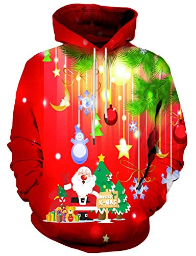 Unisex 3D Novelty Hoodies for Men Women Cool Graphic Pullover Sweatshirts with Pockets-Hl-red Christmas-Small