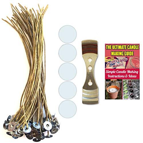 Cozyours Cera de abejas mechas de cáñamo con dispositivo de centrado de mecha y mecha de vela pegatinas (50/1/50 piezas)