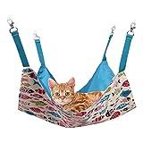 CUBY 猫 ハンモック ペット ベッド 通気性抜群 遊び場 昼寝 日向ぼっこ 夏冬両用 両面ズック 耐荷重 5KG 小動物(ブルー)