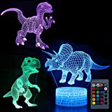 Koyya Dinosaur 3D Night Light Illusion Table Lamp with 7 Color and 4 Changing Modes, USB Power/Touch Switch/with Remote Control for Room Decor,Kids's Toy and Gifts, 3 Pack……