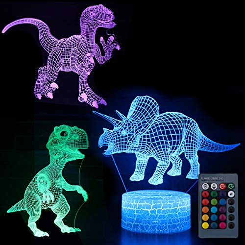 Koyya Dinosaur 3D Night Light Illusion Table Lamp with 7 Color and 4 Changing Modes, USB Power/Touch Switch/with Remote Control for Room Decor,Kids