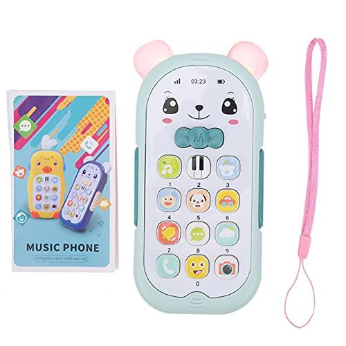 Zerodis Juguete para teléfono con simulación de bebé, música multifunción Efecto de luz Sonido teléfono móvil para niños Juguetes educativos para niños de más de 6 Meses de Edad(Azul Claro)