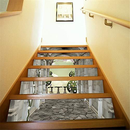 Pegatinas autoadhesivas para escaleras 6 Unids Calcomanías Etiqueta Engomada de la Escalera 3D Escaleras Creativas Azulejos Wallpaper Mural Autoadhesivo Vinilo Removible Arte Calcomanías Escalera Etiq