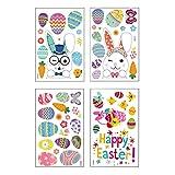 4 fogli adesivi con uova di Pasqua coniglietto, adesivi per vetrine pasquali, adesivi per vetrine pasquali