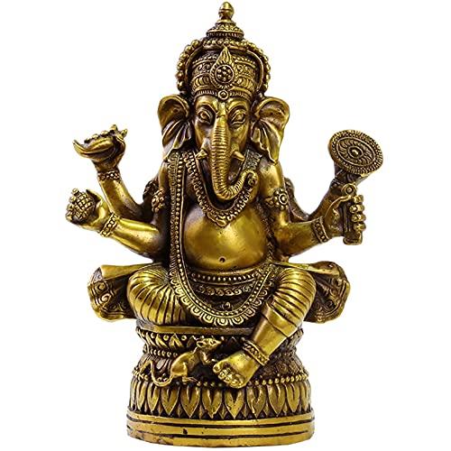 XDYFF Ganesha Figura Decoracion de Latón Estatuas, Dios Elefante Escultura Buda Indio Hecha A Mano Adornos para El Hogar, Jardín, Coche, Regalo,Latón