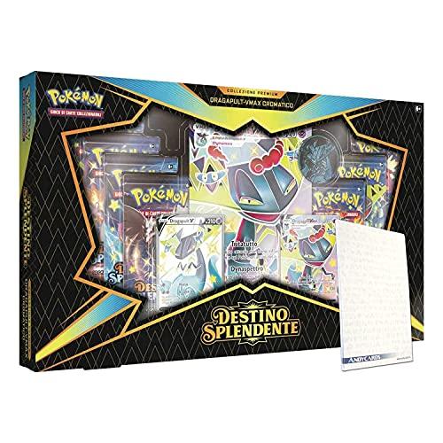 Colección Premium Dragapult VMAX en italiano – 2 cartas Pokémon Promo + 1 Jumbo + 7 sobres + 1 moneda + marcapáginas...
