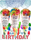 Love You Happy Birthday Series 12 Flavor Bears And Sour Worms Gummy Gummi (NET WT 32 OZ) (Pack of 3) In 1 Box Gourmet Kruise Signature Gift Bags