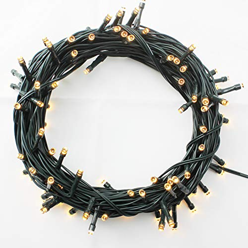 Indoor/Outdoor LED Christmas Lights on Dark Green Cable with 8 Light Effects, Low Voltage Fairy String Lights, Ideal for Festival Decoration, Garden, Xmas Tree, Room, Party, Wedding (800LEDs, Warm)