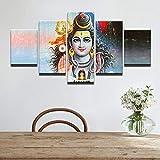 DBFHC Cuadros Modernos Impresión De Imagen Artística Digitalizada Señor Shiva Dios Hindú Lienzo Decorativo para Salón O Dormitorio 5 Piezas XXL