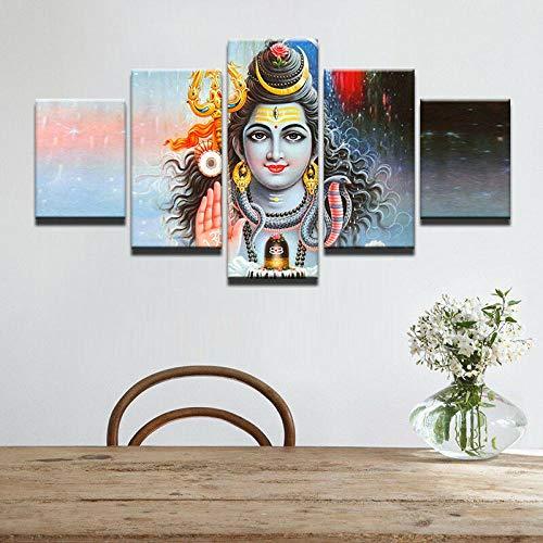 GHYTR 5 Piezas Cuadro sobre Lienzo De Fotos Bendición Señor Shiva Dios Hindú Lienzo Impresión Cuadros Decoracion Salon Grandes Cuadros para Dormitorios Modernos Mural Pared 5 Partes Carteles Regalo