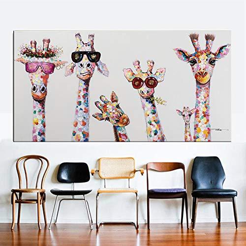 Wfmhra Gafas de Jirafa Colorida Pintura Decorativa Cartel Ar