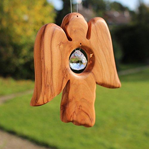Fensterdeko, Engel aus Holz, Fenster Deko zum Aufhängen, Holzengel, Regenbogenkristall, Sonnenfänger, Engel Deko, Sommer, Deko Engel , handmade