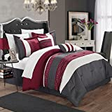 Chic Home Carlton Burgundy, Grey & Off White Queen 10 Piece Comforter Bed in A Bag Set