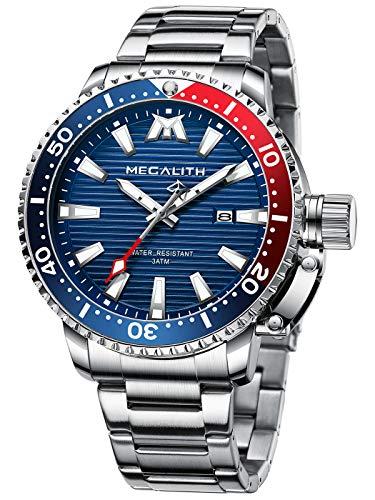 MEGALITH Relojes Hombre Acero Inoxidable Azul Reloj Pulsera Analógicos Grande Impermeable Luminosa Diseño Relojes para Hombre Vestido Casual Negocios Fecha Elegante