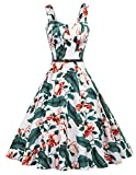 Belle Poque Women's Plus Size Sleeveless Floral Print Swing Party Dresses XL, White Floral-2