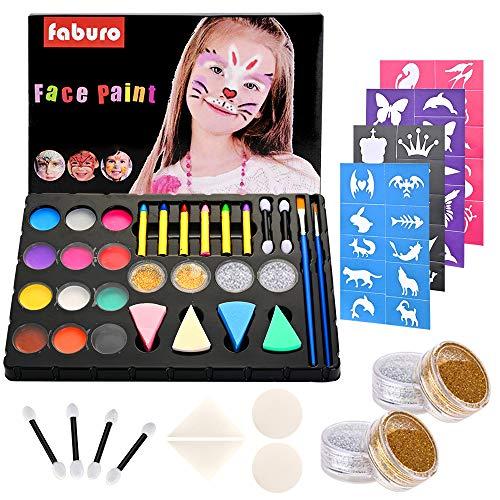 Fabur Maquillaje al Agua, 36 Piezas Set de Pintura Facial, Pinturas Cara y Corporales para niños Fiestas Halloween