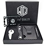 Carbon Fiber Wallet Money Clip by Widely Quality - RFID Blocking - Complete Gift Set Including Key Holder Organizer - Minimalist - Card Holder with Smart Keychain - Slim and Compact - Lightweight