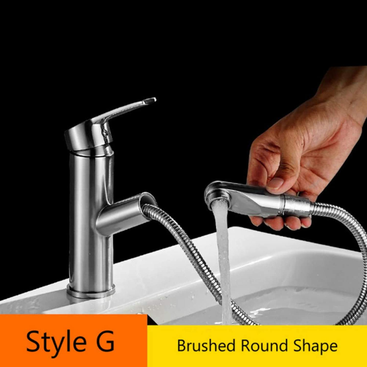 Mzdpp Luxury White Chrome Bathroom Faucet Deck Mounted Pull Out Brass Hot and Cold Kitchen Basin Vessel Sink Tap Single Lever One Hole,G