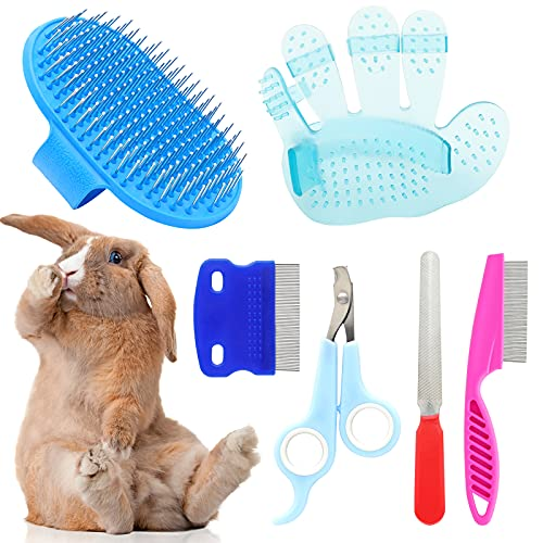 6 Pieces Rabbit Grooming Kit, Pet Nail Clipper and Trimmer with Pet Hair Remover, Pet Combs with...