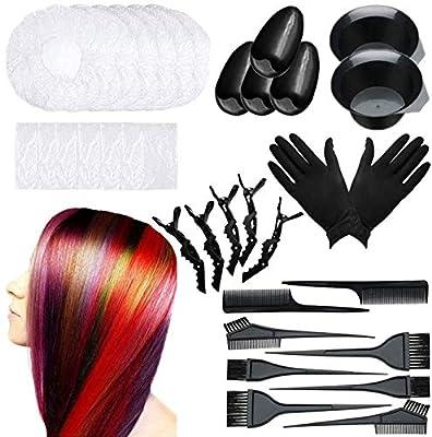 33 Pieces Hair Dye Brush And Bowl Set,Hair Dye Brush/Comb,Hair Tinting Bowl,Ear Cover,Shower Cap,Shawl, Alligator Clip,Gloves For Hair Coloring?Bleaching Hair DIY Salon Hair Coloring Kit