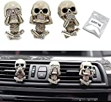 Evil Skull Trio Statue A Set Of 3pcs With Air Freshener,Car Air Outlet Ornament,Gothic Ornaments Figurines,Gothic Car Accessories,Skeleton Figurines