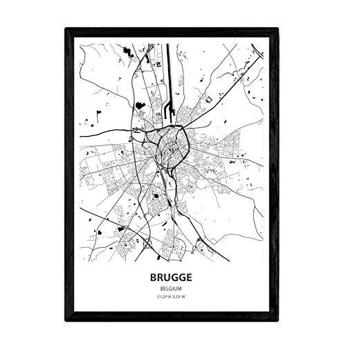 Nacnic Poster con Mapa de Brugge - Belgica. Láminas de Ciudades de Holanda y Bélgica con Mares y ríos en Color Negro. Tamaño A3