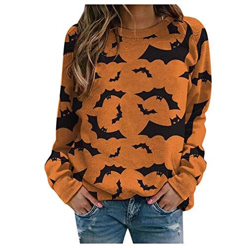 INLLADDY Damen Halloween Kürbis Kostüme Fledermaus Rundhals Sweatshirt Pullover...