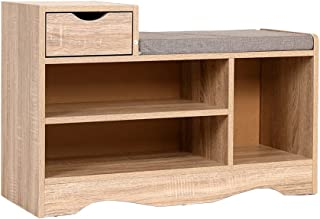 Heute Banc à chaussures avec tiroir - Meuble de rangement pour chaussures - Banc de rangement avec coussin d'assise - Pour...