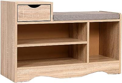 Heute Banc à chaussures avec tiroir - Meuble de rangement pour chaussures - Banc de rangement avec coussin d'assise - Pour entrée, couloir, chambre à coucher - 80 x 52 x 30 cm (couleur bois)