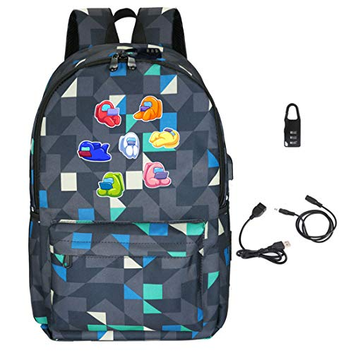 Among Us Game Printing Backpack, Kids Schoolbag with Coded Lock Students Bookbag Laptop/Computer Bag for Boys Girls Teens Game Fans Gifts (A)