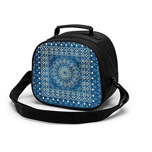 Bolsa de almuerzo portátil ajustable con correa para el hombro, Mandala mágica con cremallera para niños, bolsa de comida para niños y niñas, bolsa bento aislada para la escuela, picnic, senderismo, playa