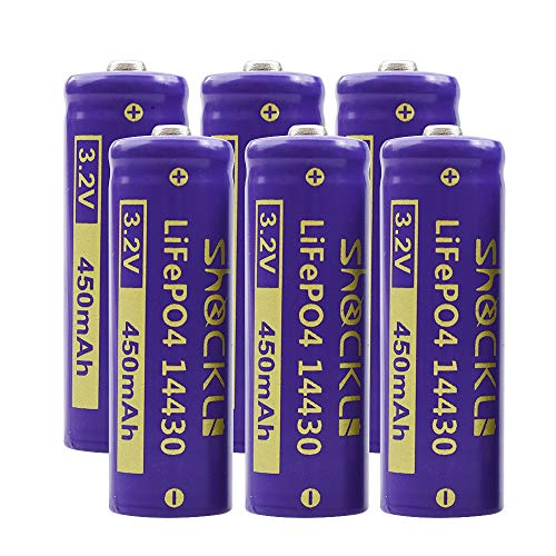 (6-Pack) Shockli 14430 3.2V 450mAh LiFePo4 Rechargeable Solar Battery (with Carry Box) - Ideal for Solar Landscape Light