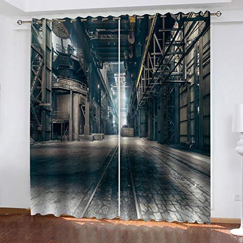 WLHRJ Cortina Opaca en Cocina el Salon dormitorios habitación Infantil 3D Impresión Digital Ojales Cortinas termica - 264x160 cm - Estilo Industrial nostálgico Retro