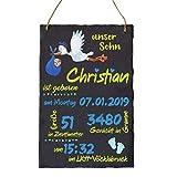 Geschenk personalisiert zur Geburt eines Jungen - Geburtsteller Geburtstafel aus Schieferstein...