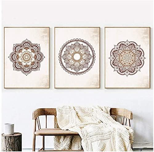 LIANGX Cuadro decorativo de pared con mandala marrón, para salón, dormitorio,...