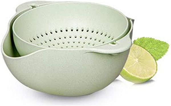 GOUGUAN 2 In 1 Multifunction Kitchen Colander Strainer Bowl Set Double Layered Rotatable Drain Basin And Basket Cleaning Washing Mixing Fruits Vegetables Convenient 244x109mm Green Grain Fiber