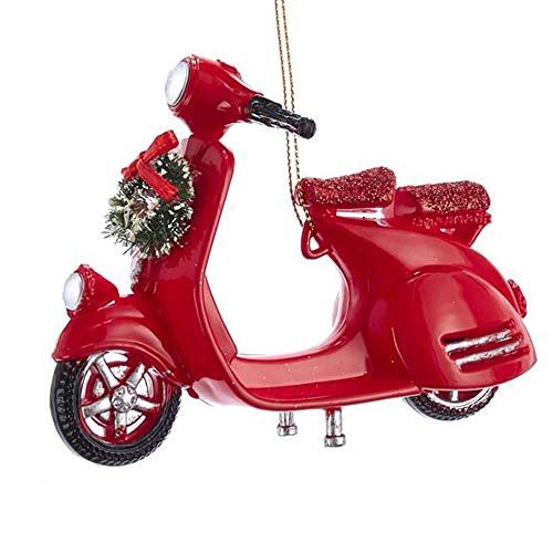 Motorcycle with Wreath Rosy Red 5 inch Acrylic Christmas Figurine Ornament