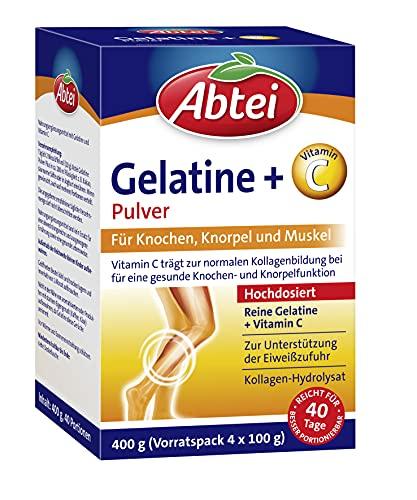 Abtei Gelatine Pulver Plus Vitamin C, für Muskel und Knochen, zur Unterstützung der Eiweiszufuhr , hochdosiert, 400g (Vorratspack 4x 100g)