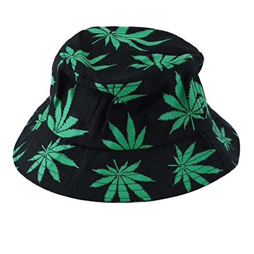 Drawihi, sombrero de algodón estampado, versión coreana, hoja de arce, sombrero Fischer de verano, algodón, verde, 56-58 cm